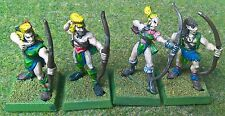 Warhammer - Wood Elf - 4x Archers (REF 1) METAL - Exc Con - Free Post!