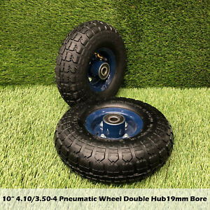 """2pcs 10"""" 4.10/3.50-4 PNEUMATIC Wheel 19mm Bore Double Hub 120KG Capacity"""