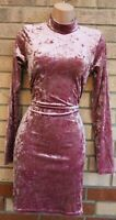 PRETTYLITTLETHING PINK CRUSHED VELVET LONG SLEEVE BODYCON PENCIL PARTY DRESS 12