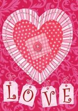 """FM13 VALENTINE'S DAY LOVE PATCHWORK HEARTS  12""""x18"""" GARDEN FLAG BANNER"""