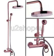 Antique Red Copper Wall Mounted Bathroom Rain Shower Faucet Set Mixer Tap Urg010