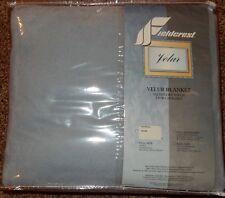 Vintage Fieldcrest Velur Velvet Like Twin Size Blue Blanket New 100% Nylon