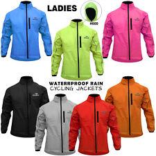 Woman Ladies Cycling Rain Jackets Hi-Vis Waterproof Running Top Coat Hooded