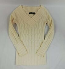 Womens Knitted Wet Seal Acrylic Winter Warm Pullover Sweater Ivory size Xsmall