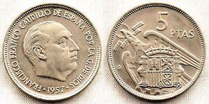 España-Estado Español. 5 Pesetas 1957*60 Madrid. SC/UNC. Niquel 5,7 g. Escasa