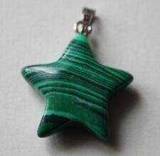 Natural Stone, Star Shaped Malachite Pendant 23mm by 21mm. (F).