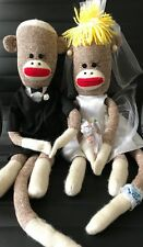 """SPUNKY Sock Monkey Rare Wedding Couple Bride and Groom 31"""" Set Gown and Tuxedo"""
