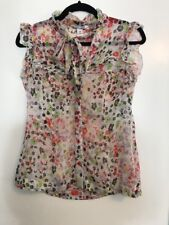 H&M SHEER FLORAL PRINT TOP W BOW NECK SIZE 8