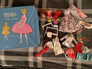 Vintage MIDGE Blue Doll Case Mattel 1963 TLC Barbie W/Clothes Lot Fab City + NR