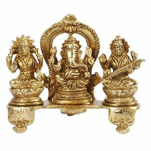Brass Laxmi Ganesh Saraswati Bhagwan Idol on Platform Statue Figurine