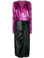 Attico Pink Black Velvet Long Sleeve Wrap Draped Cocktail Dress Nwt 38