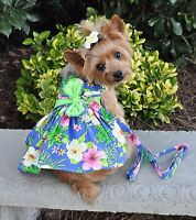 Doggie Design Blue Lagoon Hawaiian Hibiscus Dog Dress with Matching Leash XS-L