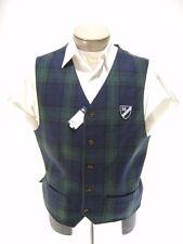 Daniel Cremieux Men's Suit Vest M 90% Wool Tartan Black Green Olive Plaid Madras