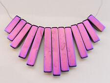 1 x arc en ciel hématite fan set de perles 12mm-29mm x 3.5mm collier de pierres précieuses (GB7)