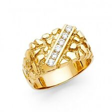 Men's 14k yellow Big Bold Real Gold Nugget Ring with man made diamonds