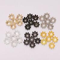 100pcs 8/10 mm Metal Lotus Flower Loose Spacer Beads Cap For DIY Jewelry Makings