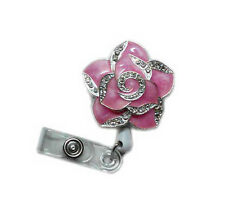 Fashionable Retractable Bling Rose Flower Reels ID Document Card Badge Holders