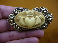 (CM38-32) traditional CLADDAGH heart hands ivory oval CAMEO brass Pin Pendant