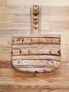 VTG Embroidered Burlap Jute Purse Crewel Bag Boho 70s Lined w/ Inside Pocket