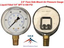 "Liquid Filled 2.5"" Face 0-100 PSI Air Pressure Gauge Side Mount 1/4"" NPT"