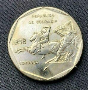 1988 Colombia 10 Pesos Coin XF +     Copper nickel Zinc World Coin     #K1466