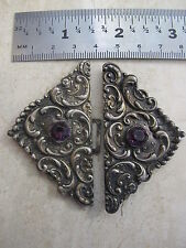 Antique Art Nouveau Sterling Silver Repousse Belt Buckle Ornate Scroll Work