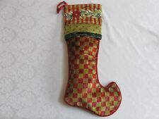 Mackenzie Childs TALL TALE ORCHARD CHECK POINSETTIA Upscale CHRISTMAS STOCKING