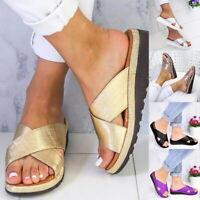 Mode Femme Confortables Compensées D'Été Plates Plage Comfy  Chaussures