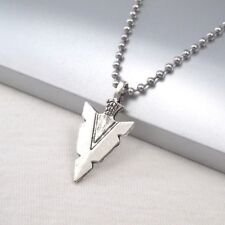 "Silver Alloy Native American Spear Arrow Head Pendant 24"" Mens Necklace Chain"