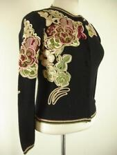 Womens S 6 MOSCHINO Cheap & Chic Black Wool Floral Embroidered Cardigan Sweater