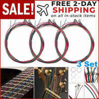 3 Sets of 6pcs Colorful Acoustic Guitar Strings 1st-6th String Steel Strings USA