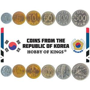 MONEY SET OF 6 COINS FROM SOUTH KOREA: 1, 5, 10, 50, 100, 500 WON. 1982-2019