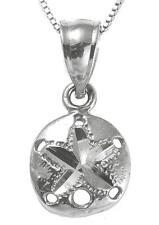 sólido 14k ORO BLANCO HAWÁI Talla Diamante Dólar de arena COLGANTE CHARM