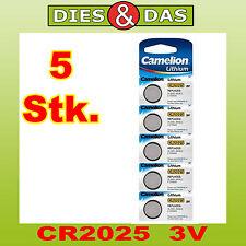 5 pièces Camelion CR2025 Lithium, 3V