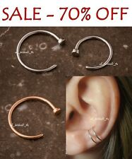 SALE 70% Surgical Steel Thin Silver Nose Ring Hoop 0.8mm Cartilage Piercing Stud