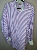 Thomas Dean Mens XL Flip Cuff Long Sleeve Button Shirt Multicolor Striped Cotton