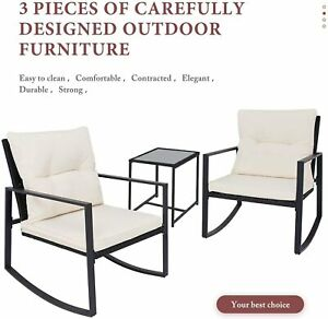 3-Piece Outdoor Rocking Bistro Patio Set Rattan Two Chairs and Table Beige