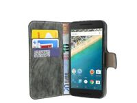 LG Google Nexus 5X // Tasche Hülle Cover Etui PU-Leder Schutz ANTHRAZIT