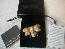 JOAN RIVERS BEE Pin Clear Crystals w Sim Pearl Goldtone Exquisite New Free Ship