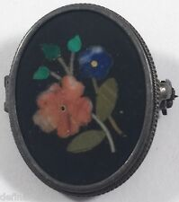 Vintage Continental Silver 800 Pietra Dura Flower Pin Brooch Pendant