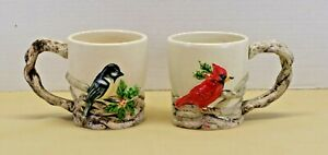Pair of Coffee Mugs MWW Market Cardinal & Blue Jay w Holiday Holly 3D Embossed