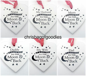 I LOVE YOU TO THE MOON AND BACK WOODEN HEART Gifts Ideas for Birthday Novelty