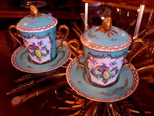 Limoges Two Trembleuses Cup and Saucer in the Sevres Style -Mint