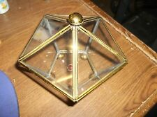 Vintage Glass CURIO Cabinet Brass Jewelry Trinket Display Box Pentagon (II2)