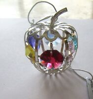 Ornament- APPLE  Austrian  Crystals silver plated -6 multi color crystals