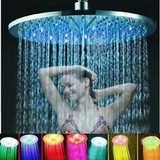 """8"""" 7 Colors Automatic Changing Round Top Shower Head Bathroom LED Light Rain!"""
