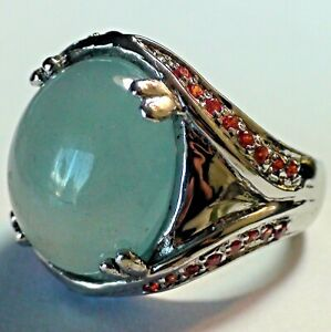 BIG! 21.40 CT NATURALl MILK BLUE AQUAMARINE RING 925 STERLING SILVER,SIZE 8,0.