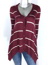 Hippie Rose Button Sweater V neck Asymmetrical Long Sleeve Stripe Maroon Size L