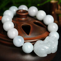 New Natural Grade A Jade (Jadeite) 12mm Bead with Pixiu Bracelet