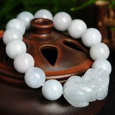 New Natural Grade A Jade (Jadeite) 12mm Bead with Pixiu Bracelet